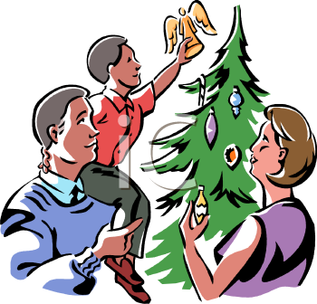 Christmas family home clipart.