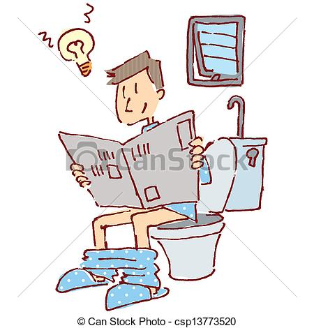 Vector Illustration of Men who came up in the toilet csp13773520.