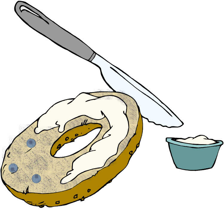 Bagel and cream cheese clipart.