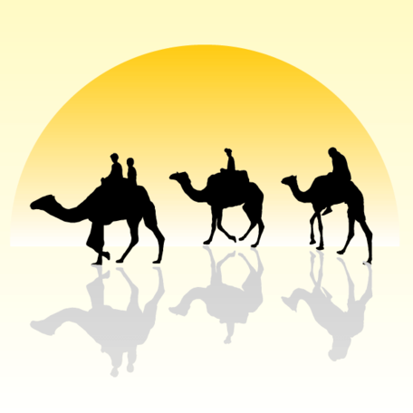 Free Camel Caravan Silhouette with Sunset Clipart and Vector.