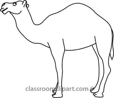 black and white clip art camel.