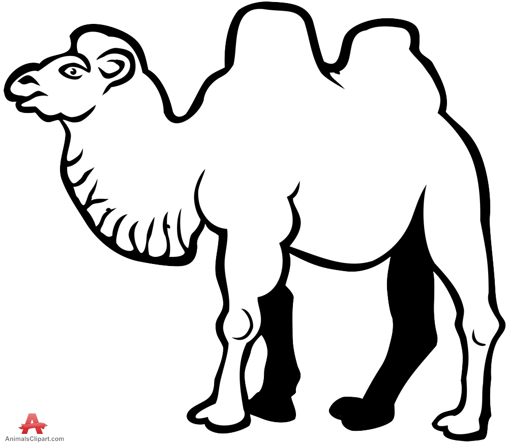 Camel drawing in black and white free clipart design download.