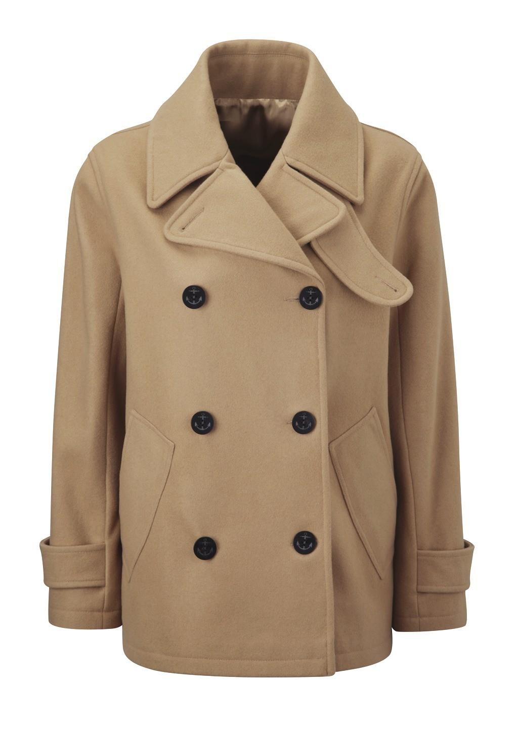 Womens lined Pea Coat (Reefer jacket) in Camel.