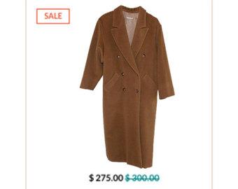 Camel wool coat.