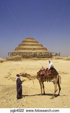 Stock Photo of Egypt. The stepped pyramids at Saqqara/Sakkara near.