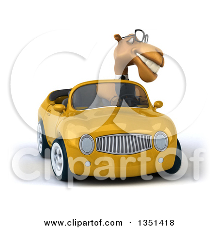 Clipart of a 3d Bespectacled Business Camel Driving a Yellow.