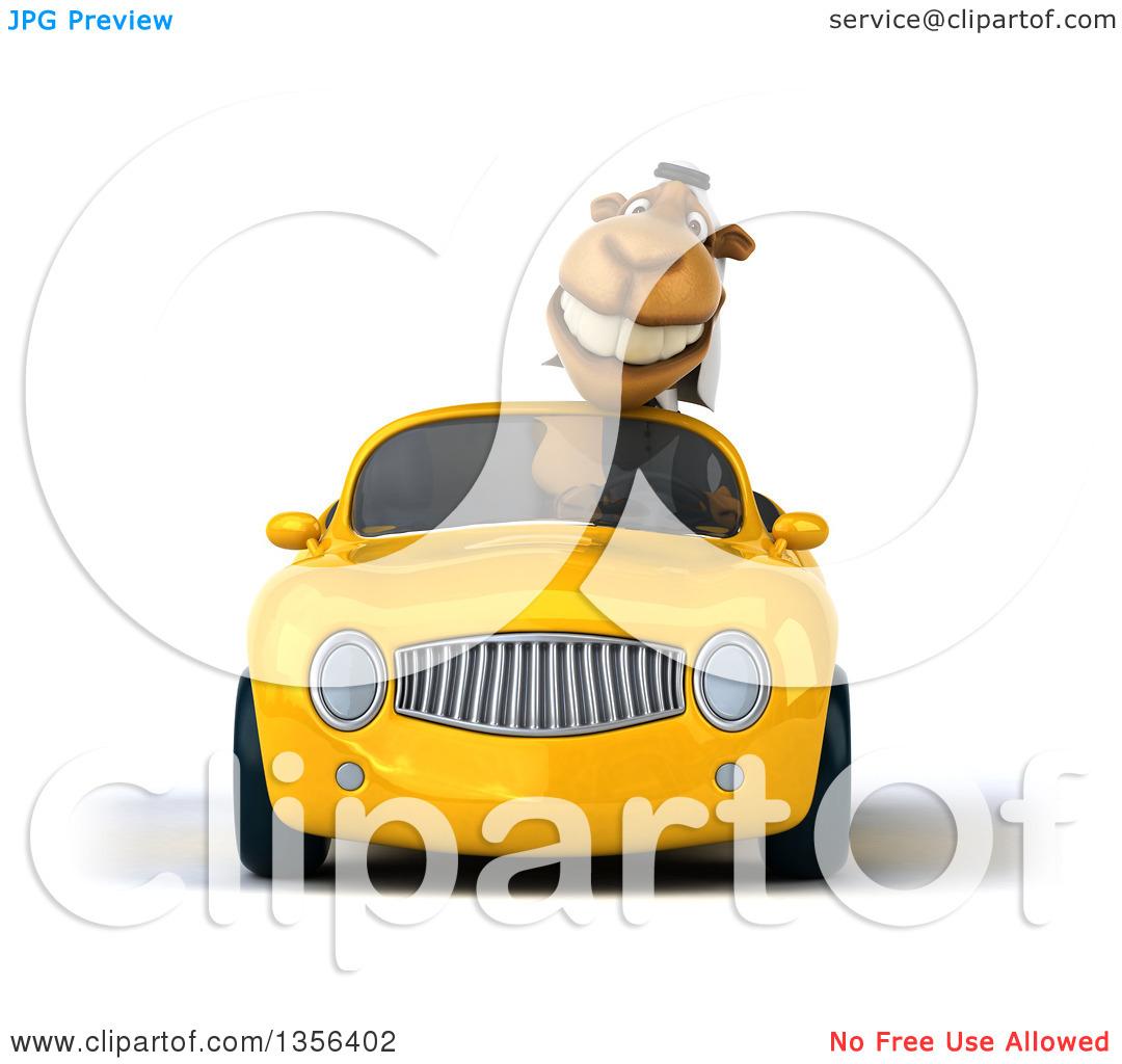 Clipart of a 3d Arabian Business Camel Driving a Yellow.