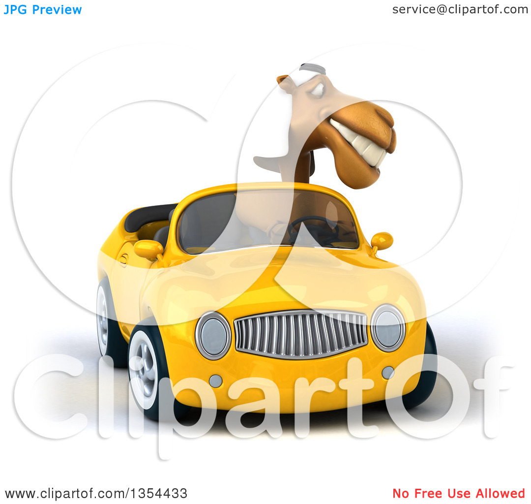 Clipart of a 3d Arabian Camel Driving a Yellow Conertible Car, on.