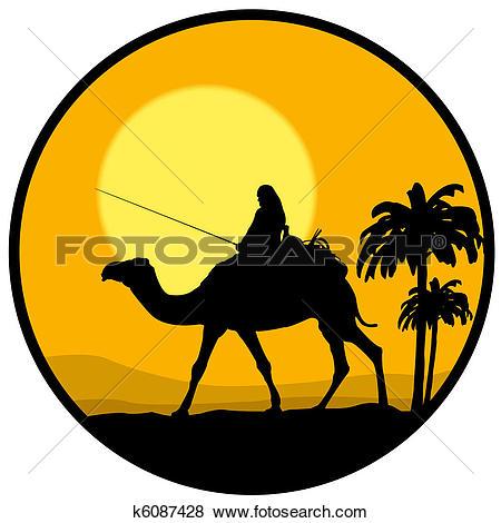 Stock Illustration of desert, sunset and the camel k6087428.