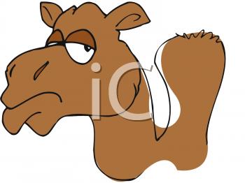 Clipart of a Cartoon Camel.