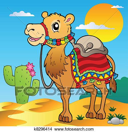Desert scene with camel Clipart.