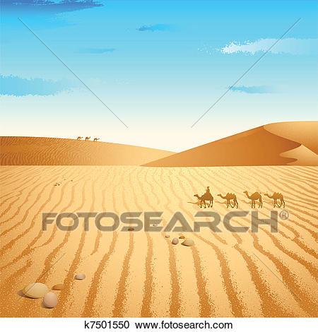 Camel in Desert Clipart.