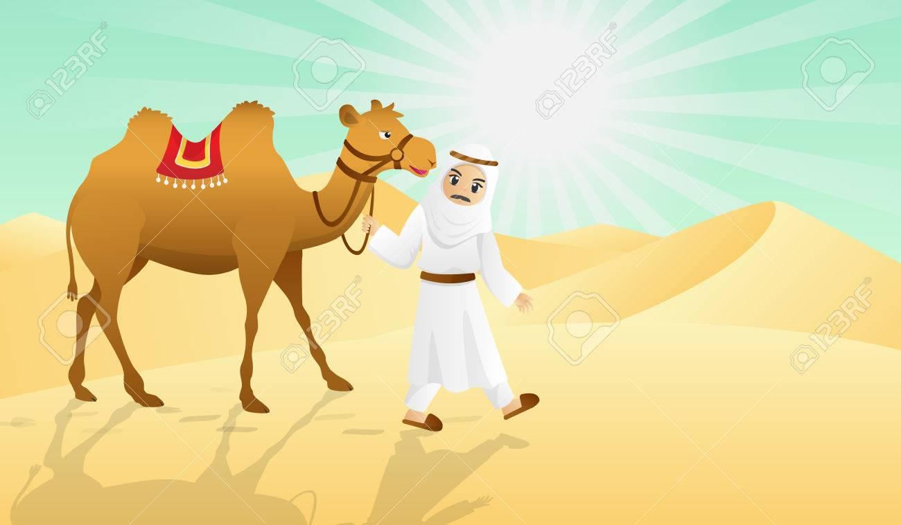 camel and the arabian man in desert.