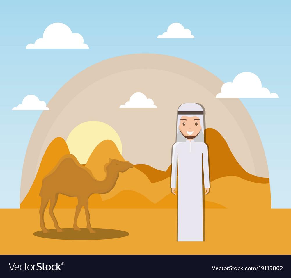 Landscape of dry desert with camels.