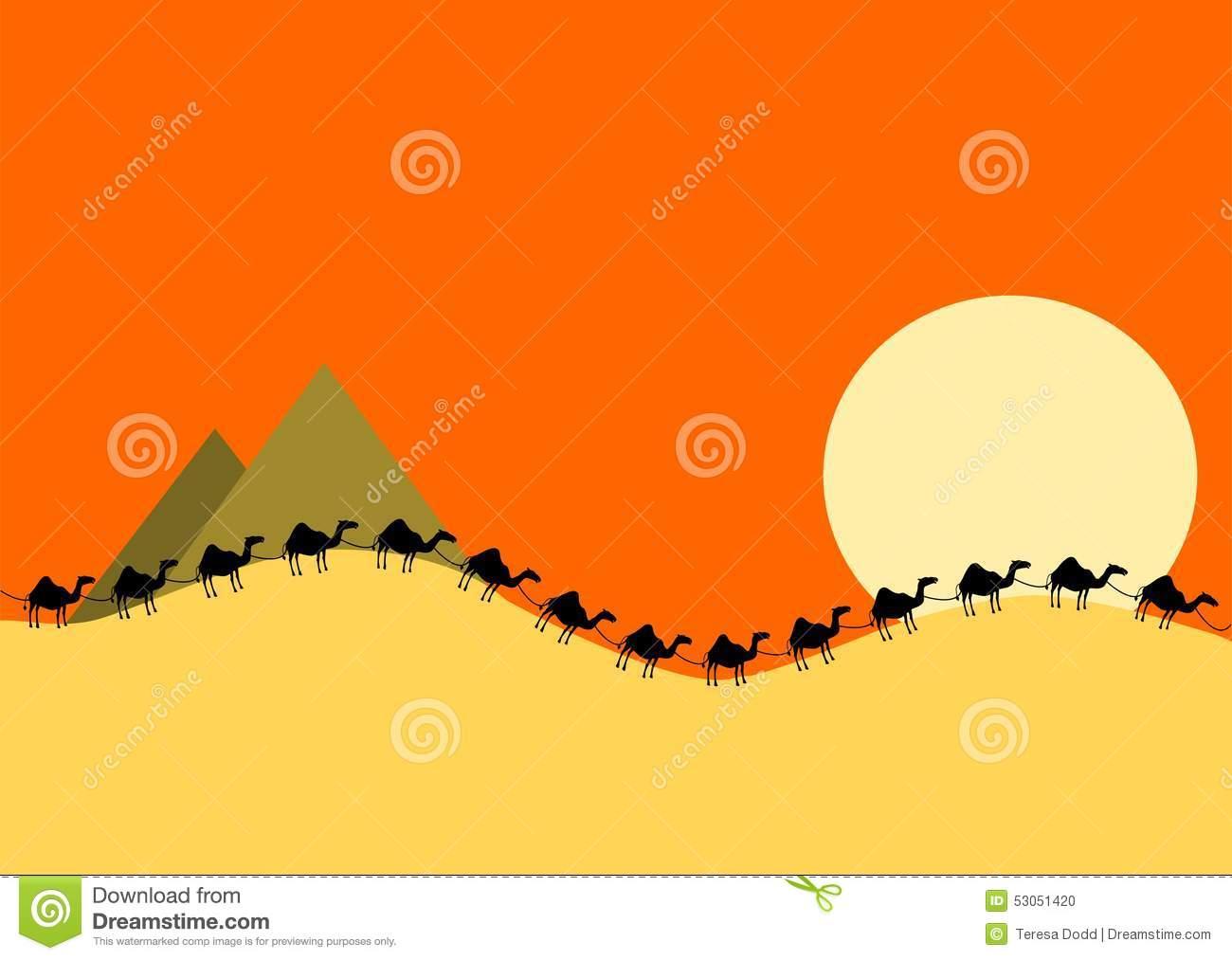 Camel Train In Desert Evening Stock Illustration.