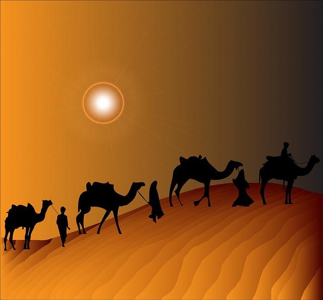 Free illustration: Camel Train, Camel, Camels, Desert.