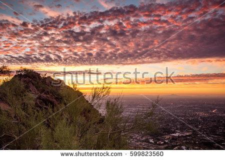 Arizona Mountain Skyline Stock Images, Royalty.