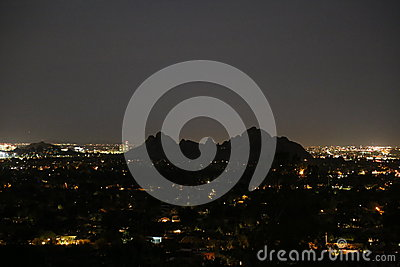 Moon And Camelback Mountain Royalty Free Stock Image.