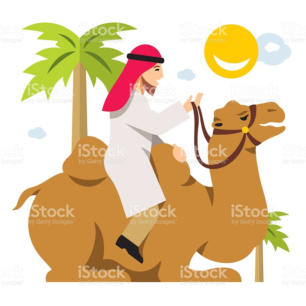 Vector Arab Cameleer Riding A Camel Flat Style Colorful Cartoon.