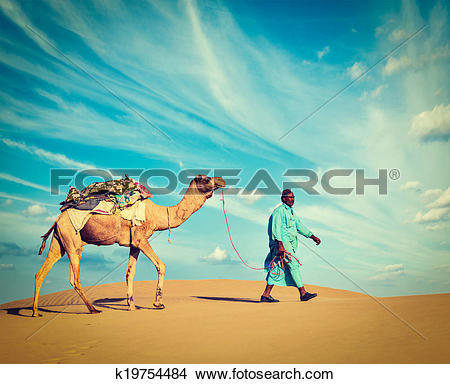 Stock Photo of Cameleer (camel driver). Rajasthan, India k19754484.