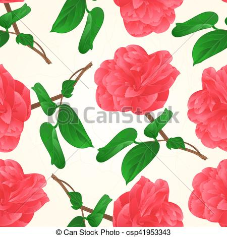 EPS Vector of Seamless texture Camellia Japonica flowers with bud.