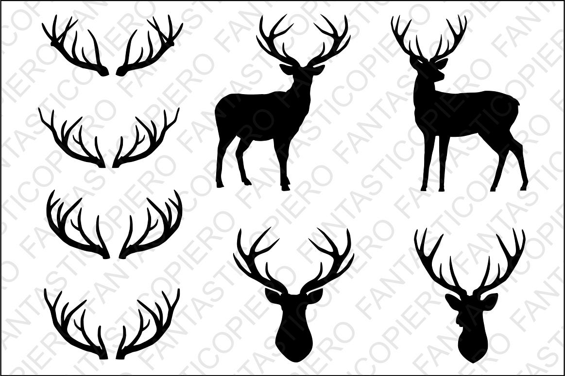 Deer, deer head, antlers SVG files for Silhouette Cameo and Cricut. Clipart  PNG included..