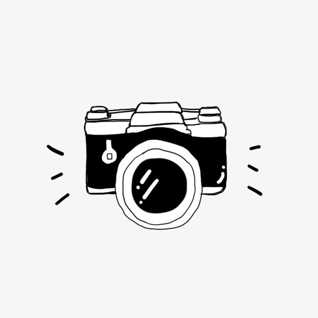 Hand Drawn Camera, Camera Clipart, Hand Painted, Digital.