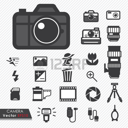 Photography Camera Lens And Accessories Set Vector Icons Royalty.