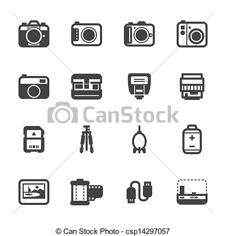 Clipart Vector of Camera and Camera Accessories Icons.