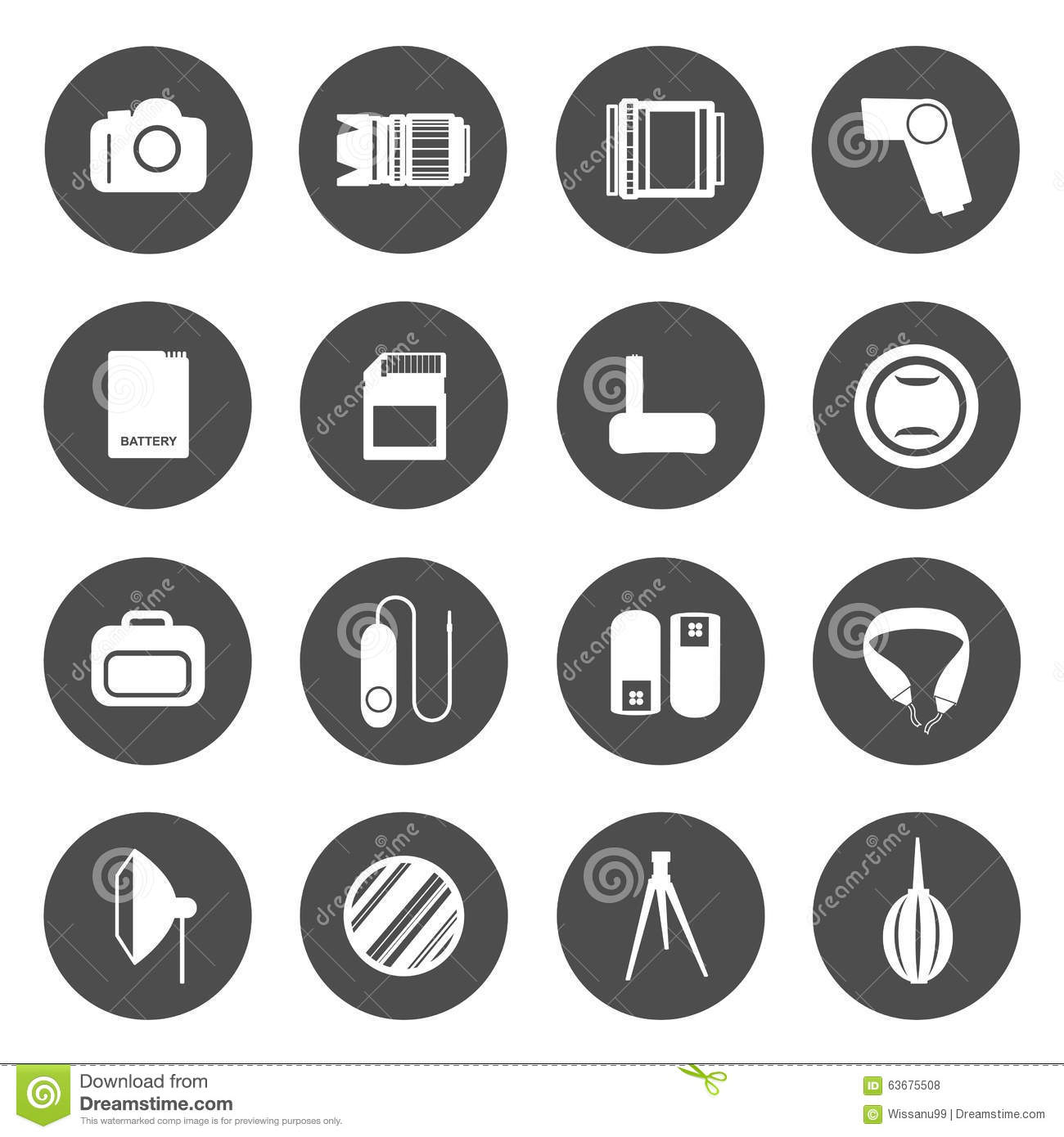 Camera Accessories Icons Stock Vector.