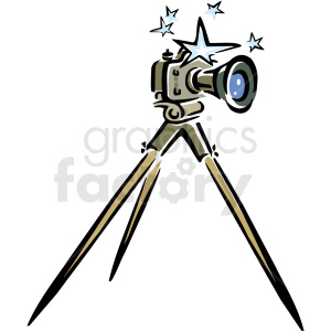 A Camera Sitting on A Tripod with Stars around the Top clipart.  Royalty.