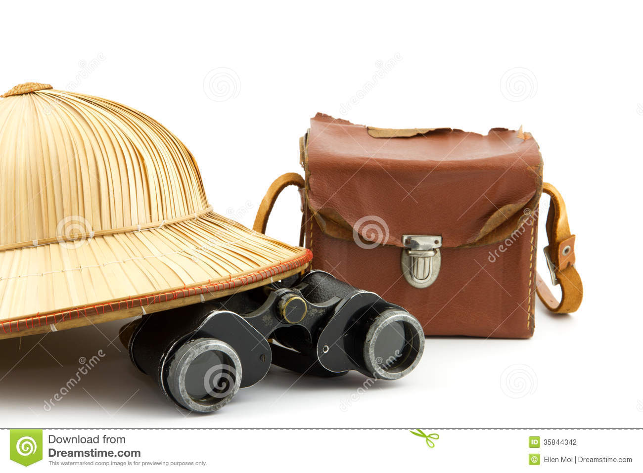 Safari Hat, Vintage Camera Bag And Binoculars Stock Photography.