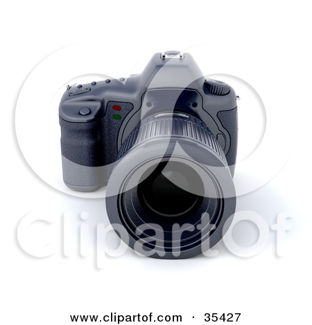 Clipart Illustration of a Telephoto Lens On A Camera Body, Resting.