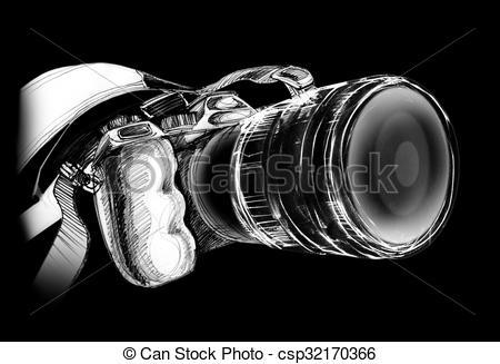 Stock Illustration of Camera on black background.
