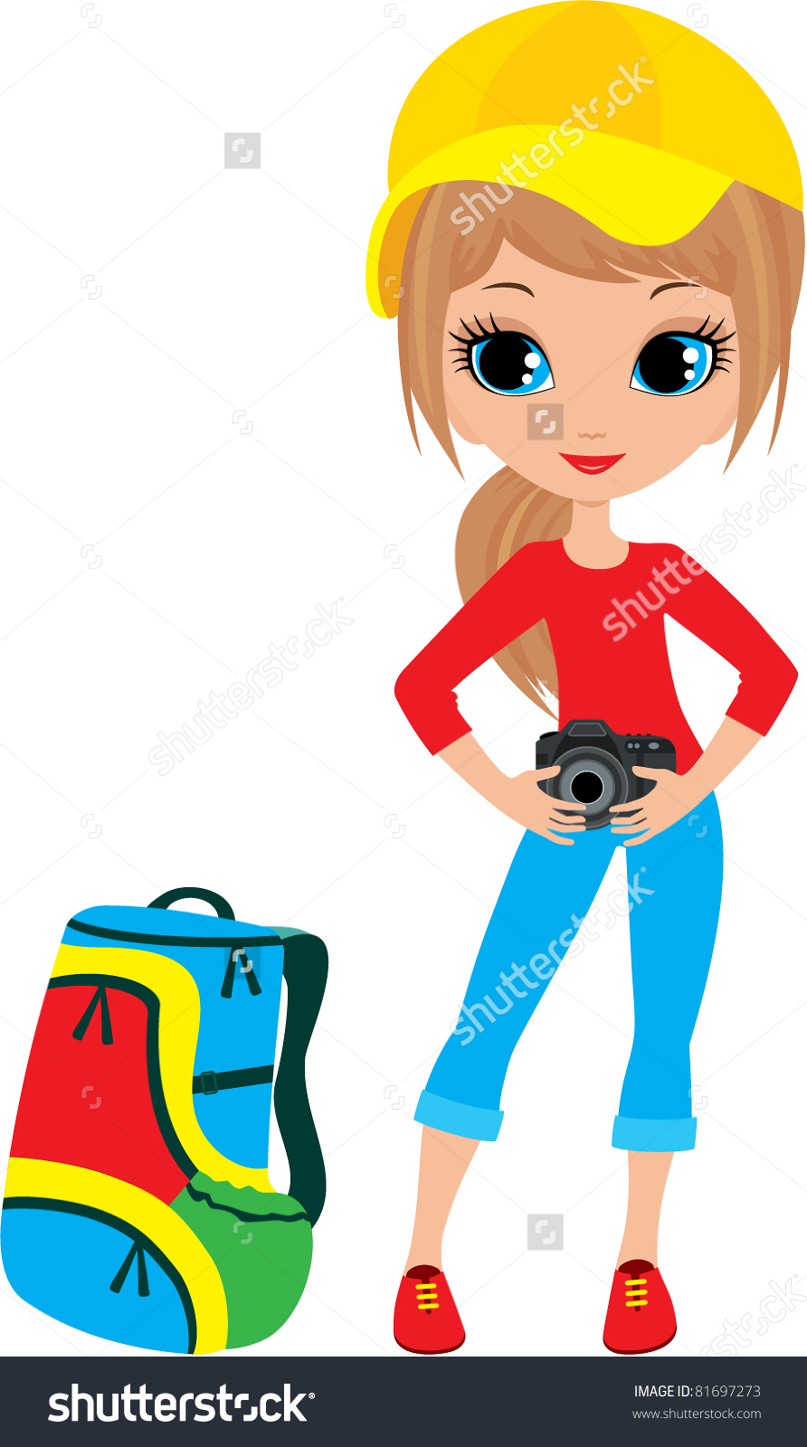 Pretty Girl Camera Vector Illustration Color Stock Vector 81697273.