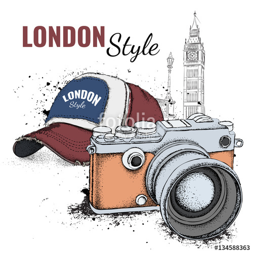 Hand drawn cap and vintage camera on background. Run Concept.