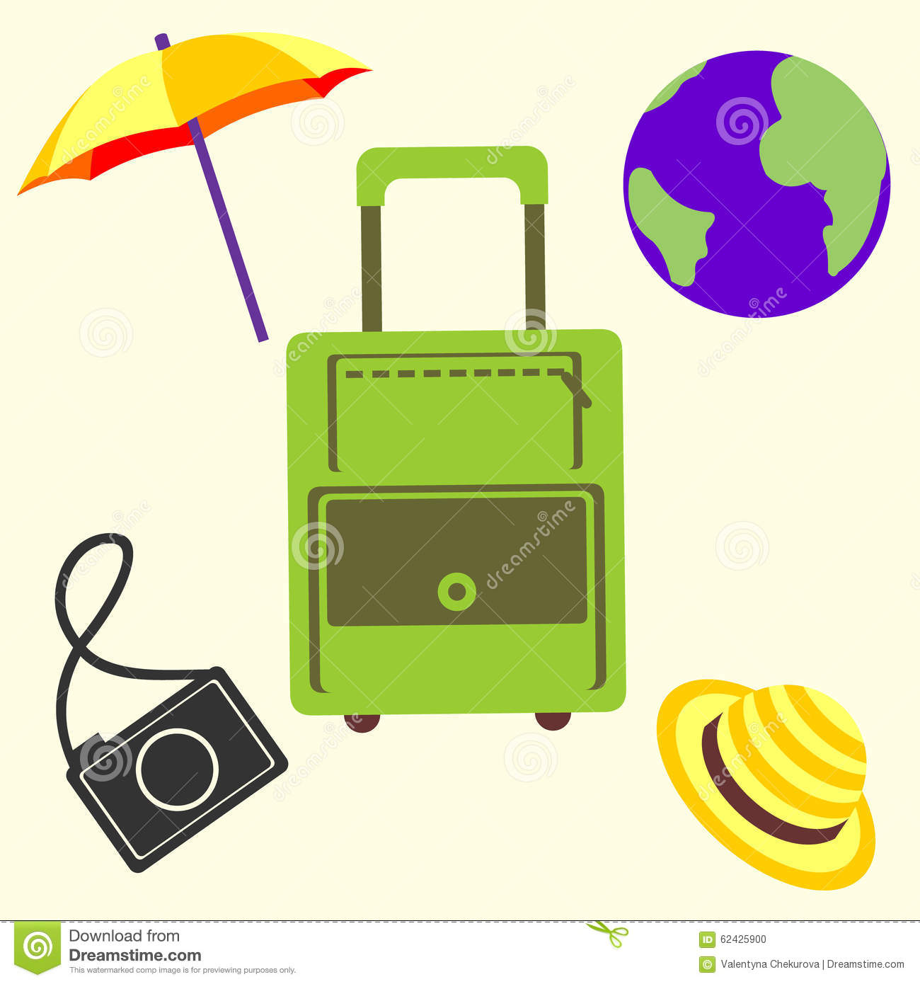 Vector Illustration, Travel Set Of Bag, Umbrella, Camera, Globe.