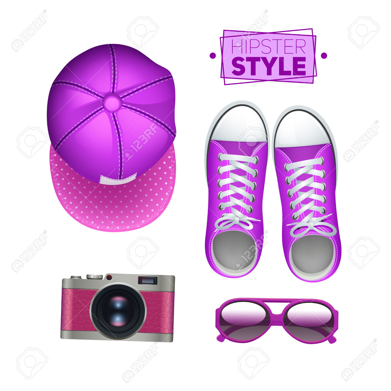 Girl Hipster Accessories Set With Gumshoes Cap Photo Camera And.