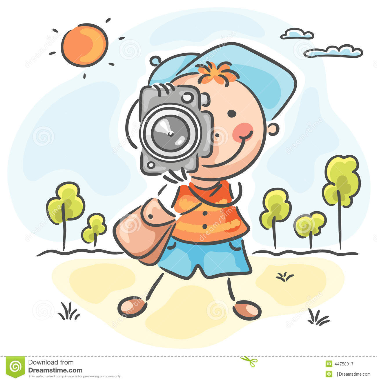 Photographer With A Cap, Bag And Camera Stock Vector.