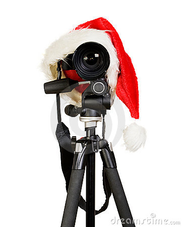 Digital Photo Camera In Santa Cap Stock Image.