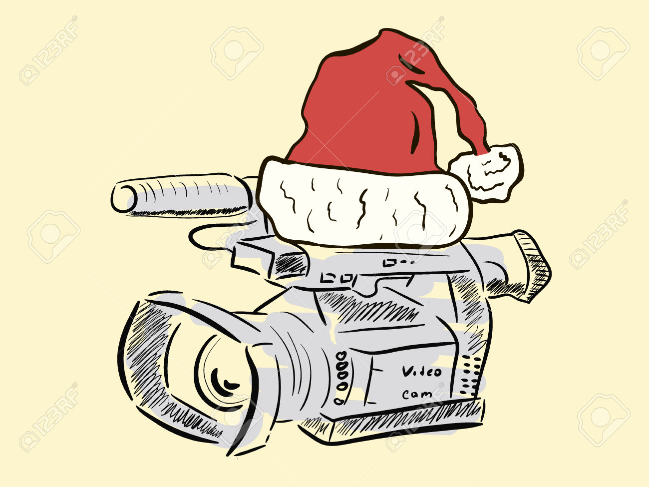 Big Video Camera In A Christmas Red Cap Royalty Free Cliparts.