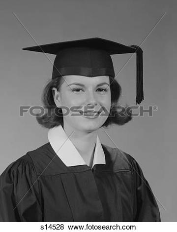Pictures of 1960S Portrait Smiling Young Woman Wearing Graduation.