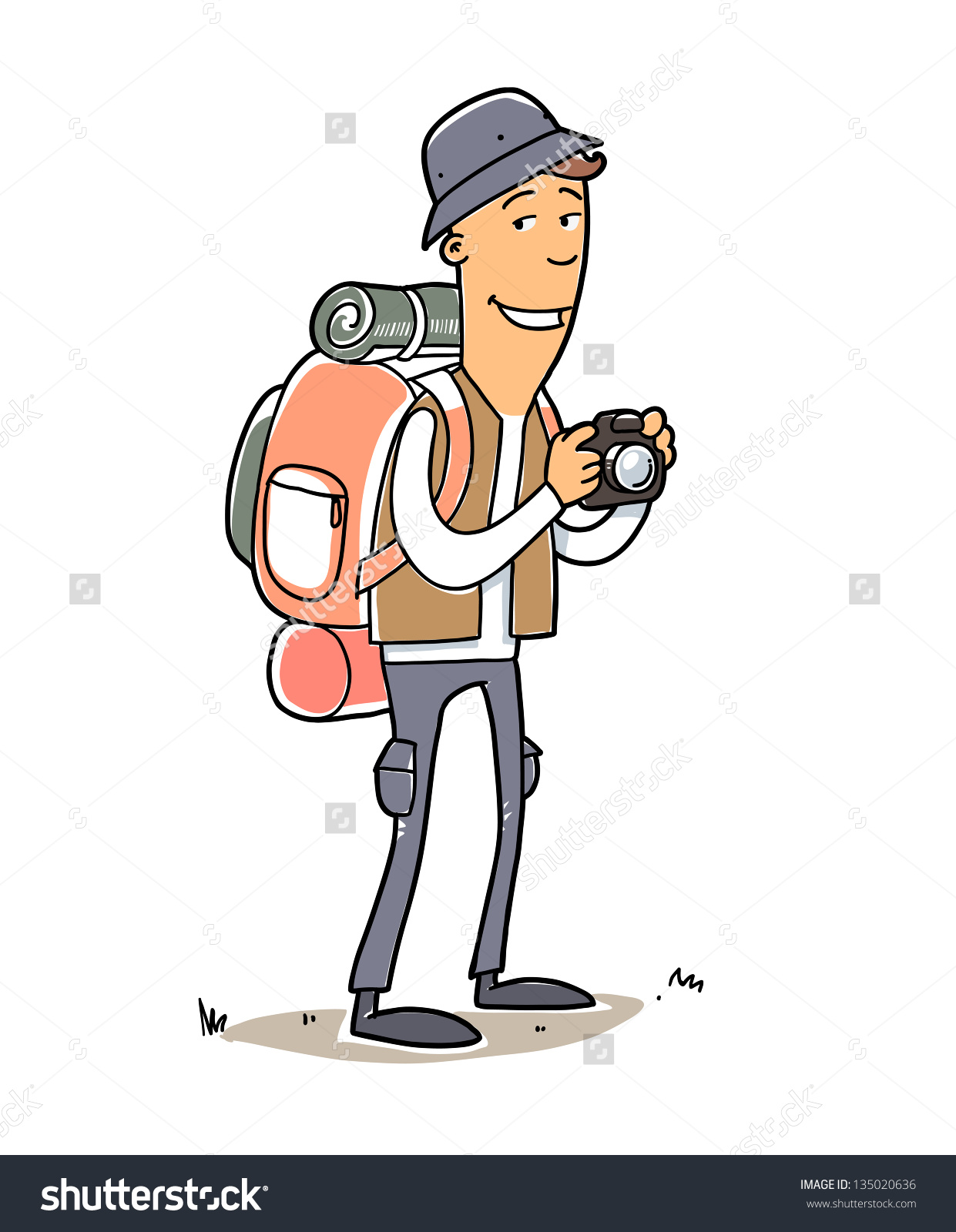 Man Tourist Bag Hat Camera Cartoon Stock Vector 135020636.