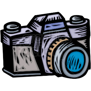 A Professional Photographers Camera clipart. Royalty.