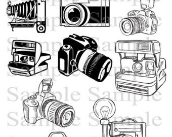 Camera Clipart Clip Art, Photography Logo Elements, Layered Editable.