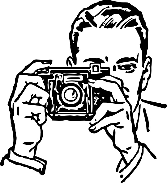 Man With A Camera clip art Free vector in Open office drawing svg.