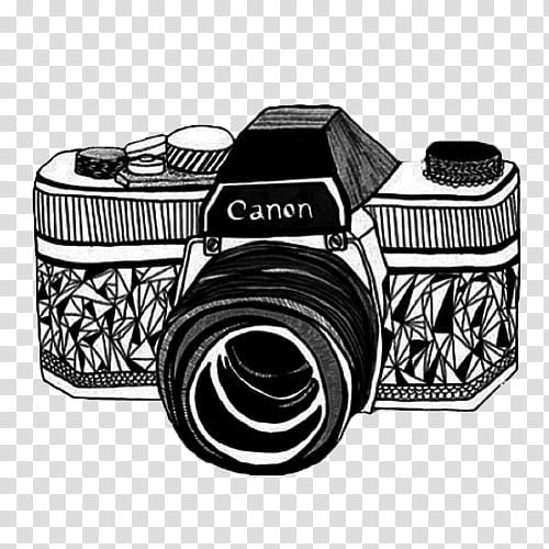Vintage s, white and black Canon camera illustration.