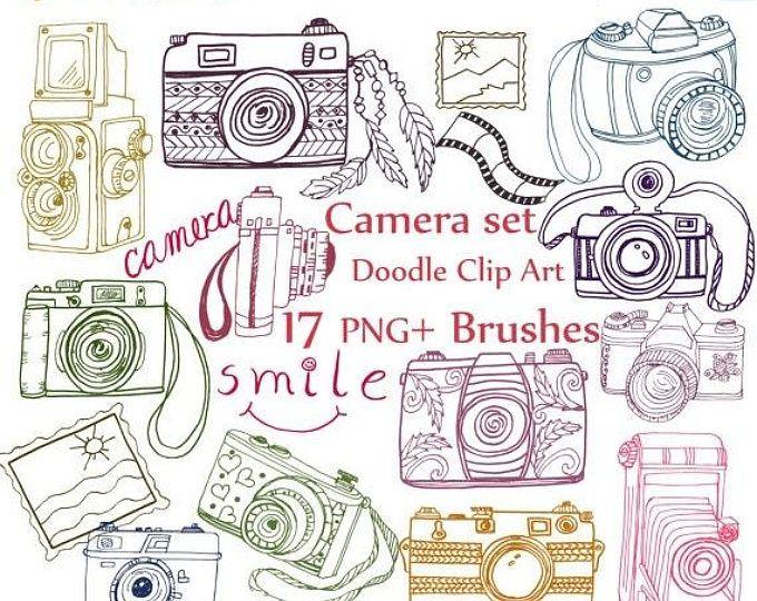 40%SALE Doodle camera clip art: \