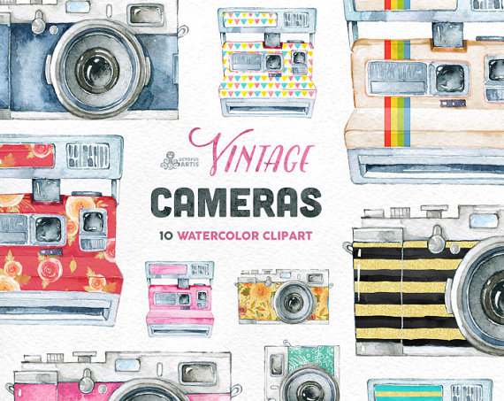 Vintage Cameras. 10 Handpainted clipart wedding by OctopusArtis.