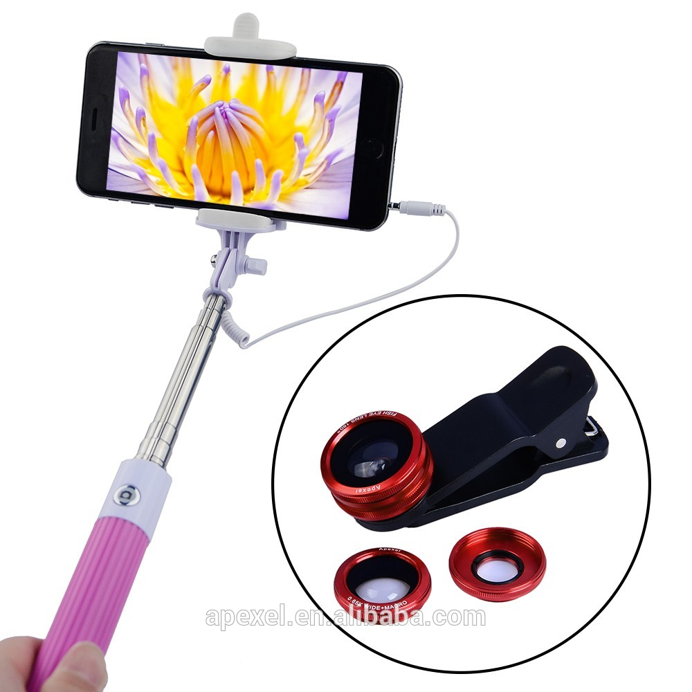 Selfie stick with phone camera cover lens, View Selfie stick with.